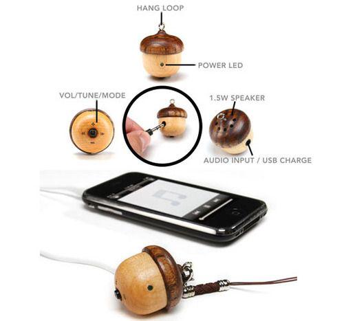 Amazon com: Motz Tiny Wooden Acorn Speaker (Bulid-in FM