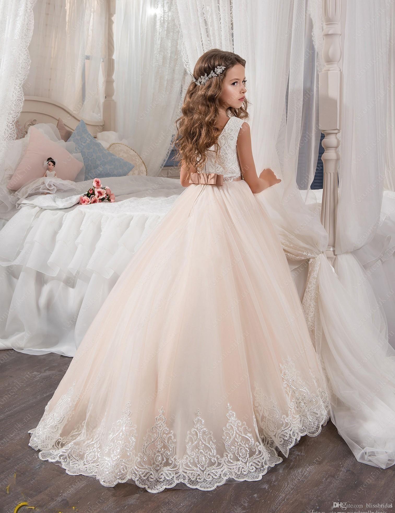 d1f5334cb37ec 2017 Vintage Flower Girl Dresses For Weddings Blush Pink Custom Made ...