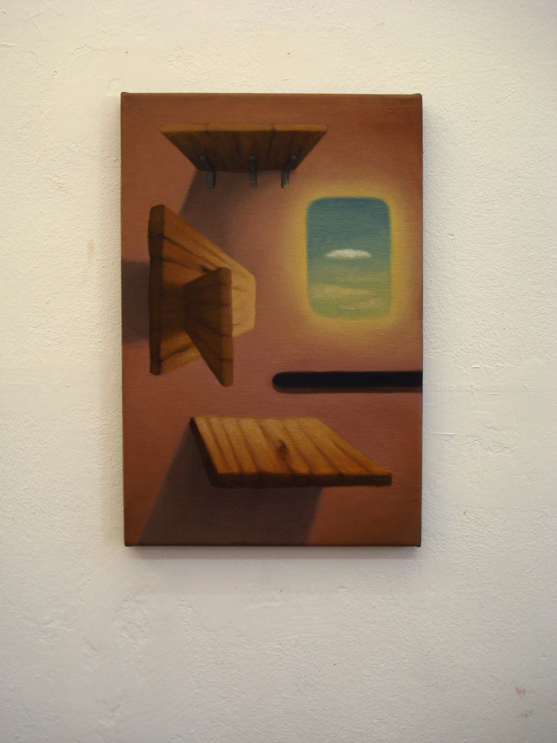 Juan Reos - Estantes y ventana - Óleo sobre tela -50x30 aprox - 2013