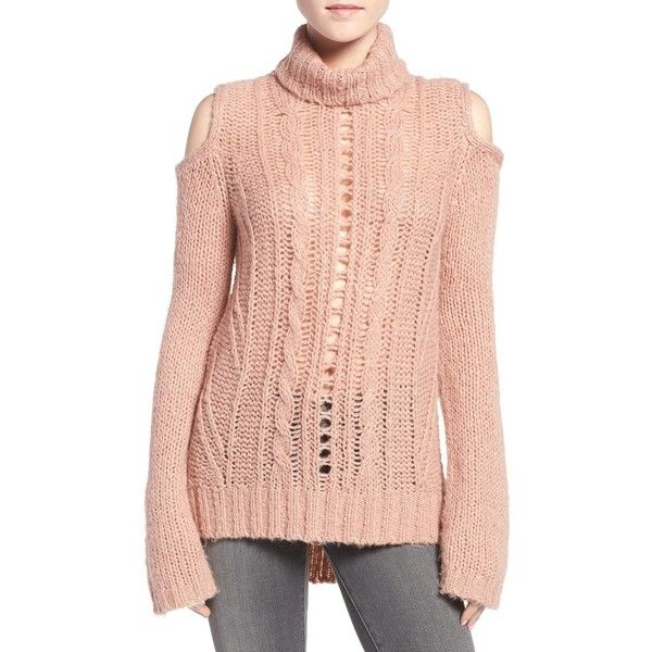 Women's Pam & Gela Cold Shoulder Cable Knit Sweater ($250) ❤ liked on Polyvore featuring tops, sweaters, pink, cut out shoulder sweater, cable turtleneck sweater, pink sweater, cable knit turtleneck sweater and red sweater