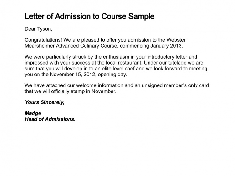 Letter of Admission to Course Sample | School admissions ...