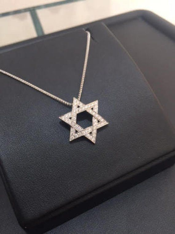 18K White Gold Double Sided Judaica Star Of David Pendant 0 72 CT