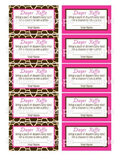 Printable Giraffe \ Pink Girl Baby Shower Diaper Raffle Tickets - printable raffle ticket template free