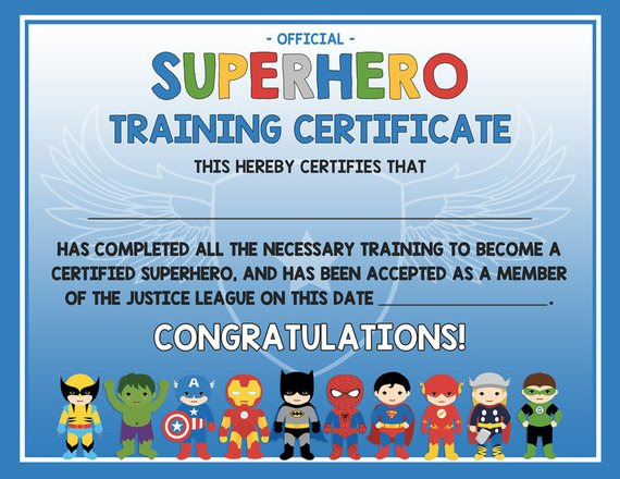 picture about Superhero Certificate Printable named Superhero exercising certification - 2 styles blue AND grey