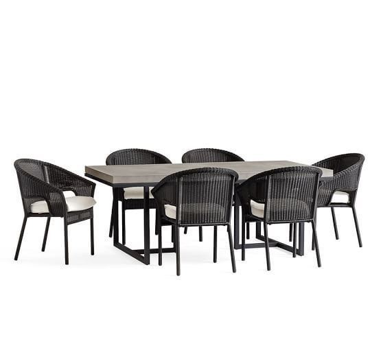 Sloan Dining Table Black Palmetto Stacking Chair Dining Set - Pottery barn sloan coffee table