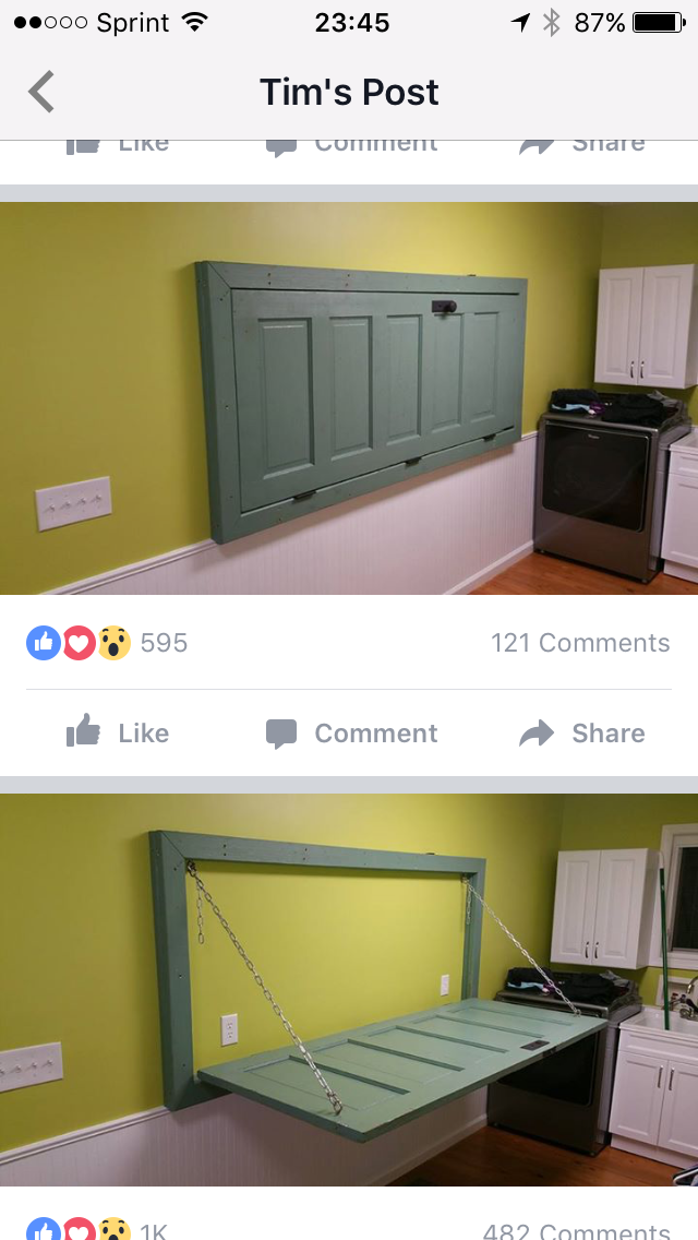 Wall Mounted Door As Folding Table In Laundry Room Room Storage