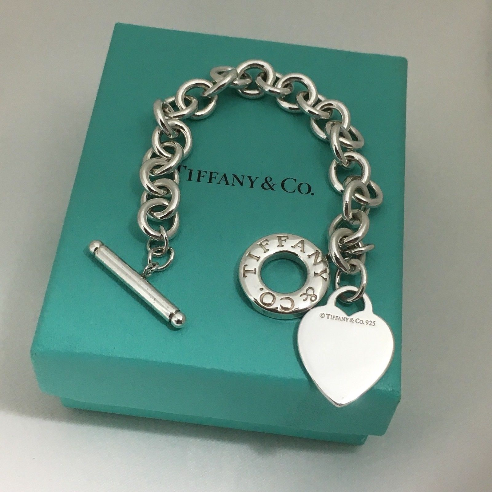 0a0d38ba7 Tiffany & Co Sterling Silver Blank Engravable Heart Tag Toggle Bracelet ( eBay Link)