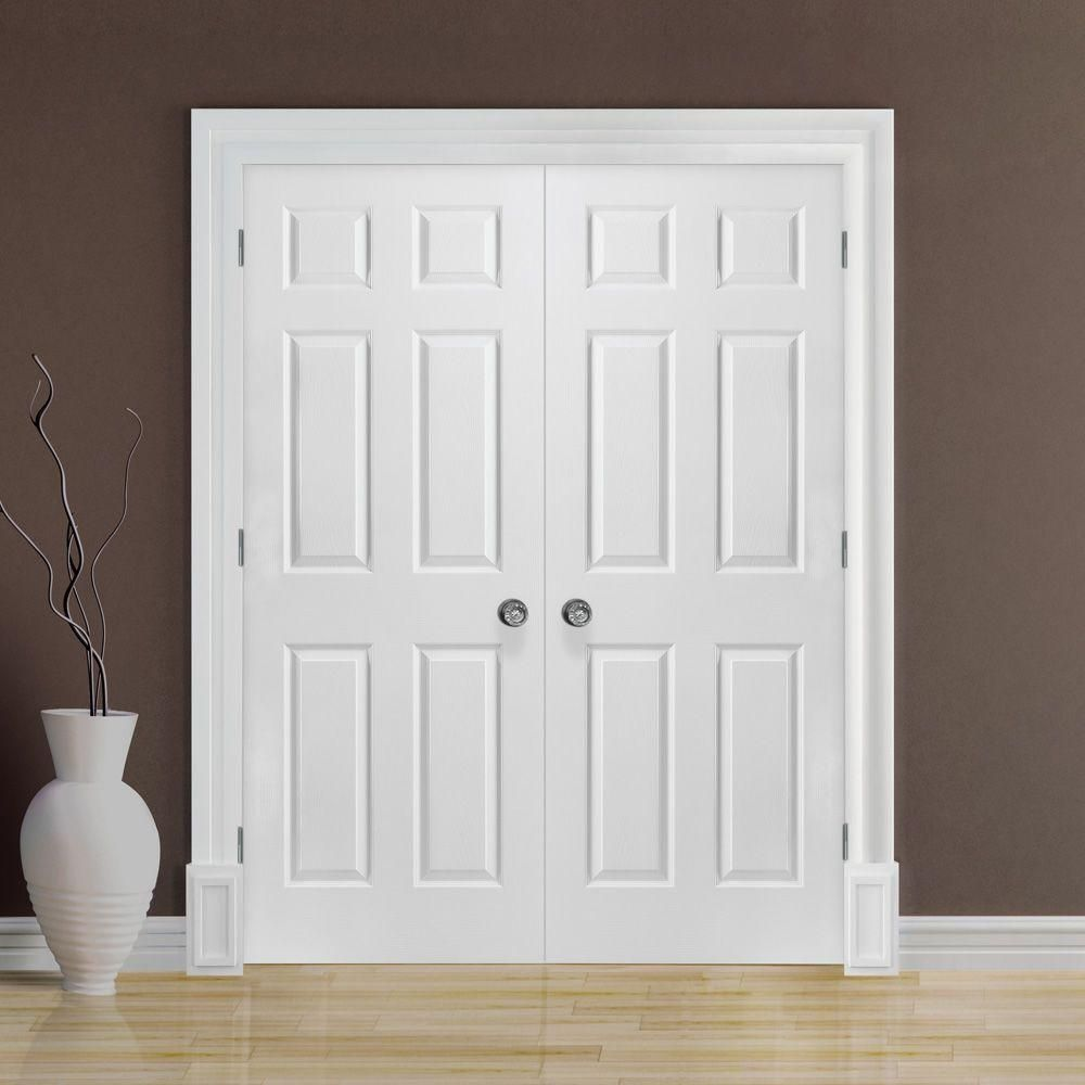Masonite 48 In X 80 In Textured 6 Panel Hollow Core Primed Composite Double Prehung Double Doors Interior French Doors Interior Prehung Interior French Doors