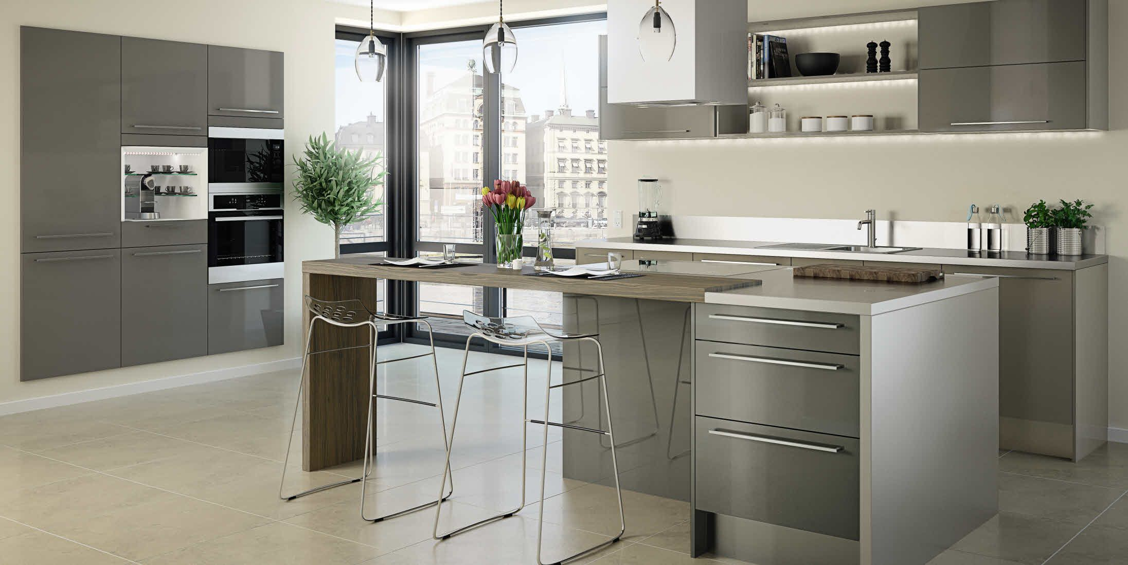Cuisine Taupe Modele Astral Taupe Hygena Salle A Manger Moderne Cuisine Contemporaine Cuisine Moderne