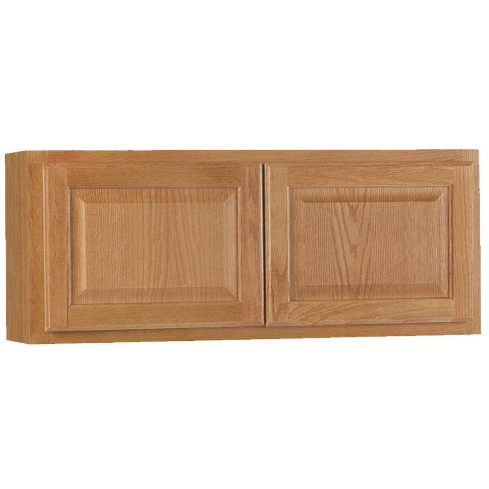 Hampton Bay Hampton Assembled 36x15x12 In Wall Bridge Kitchen Cabinet In Medium Oak Kw3615 Mo The Home Depot Hampton Bay Kitchen Cabinets Galley Kitchen Design