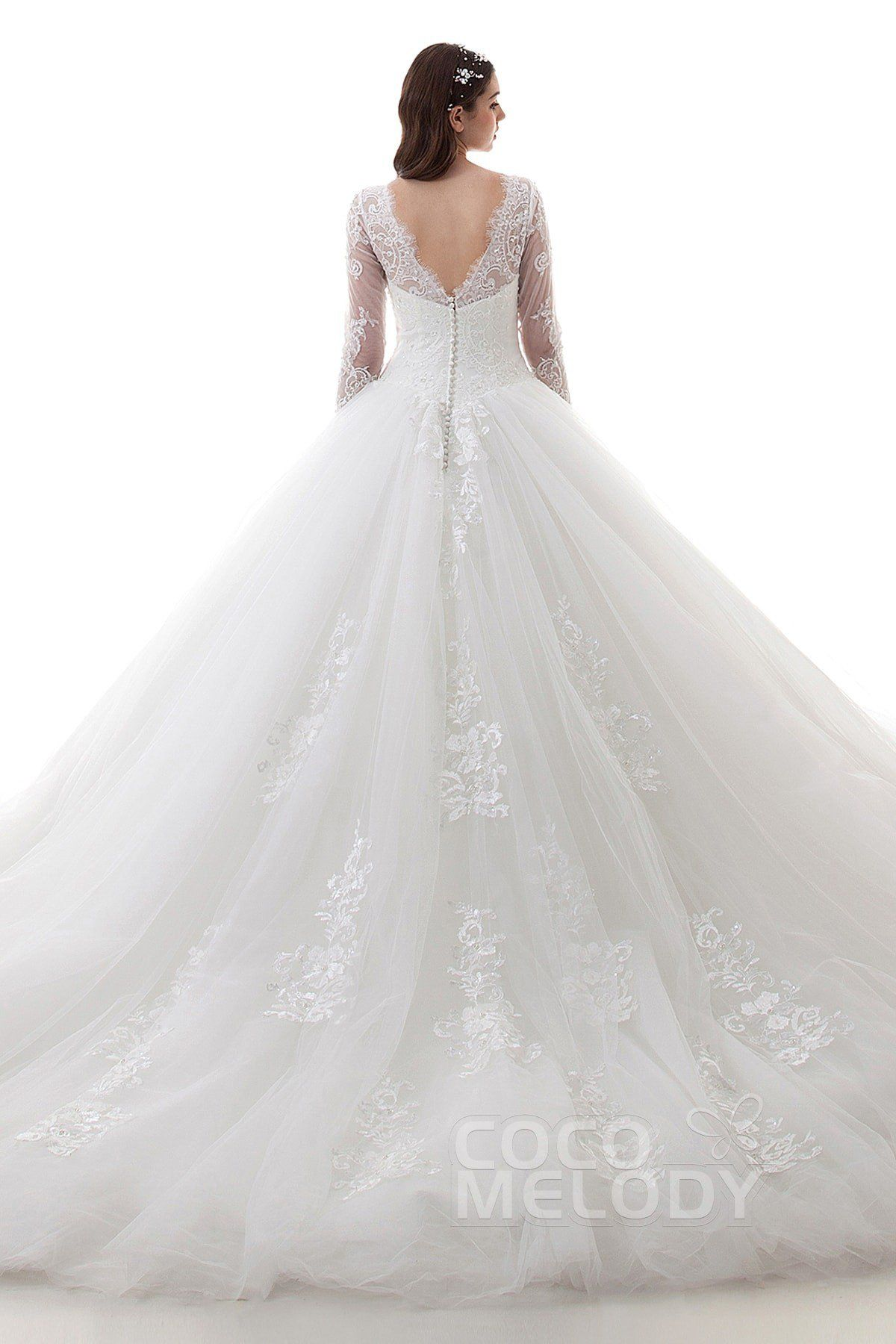 Latest ball gown illusion natural cathedral train lace and tulle