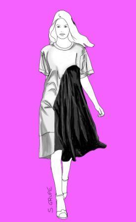 Ein riesiger, seidig glänzender, schwarzer Volant an einem schlichten, weißen A-Linien-Kleid ergibt nicht nur einen figurfreundlichen Colour...