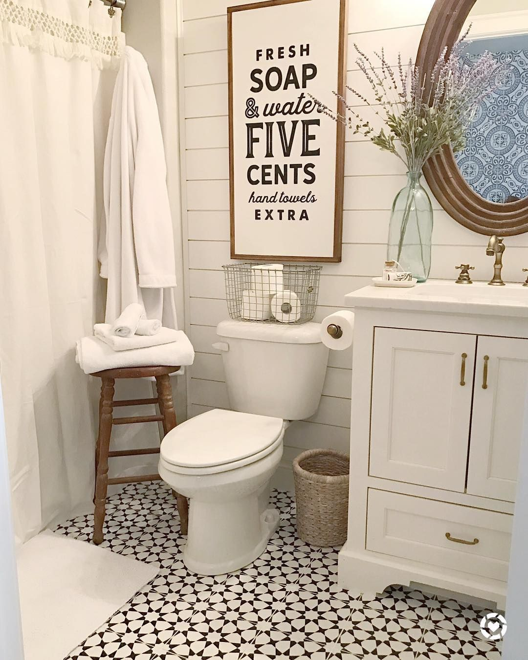I Was Up Before The Kids This Morning Not Abnormal So I Decided To Have A Change Of Sce Modern Farmhouse Bathroom Farmhouse Bathroom Decor Bathrooms Remodel
