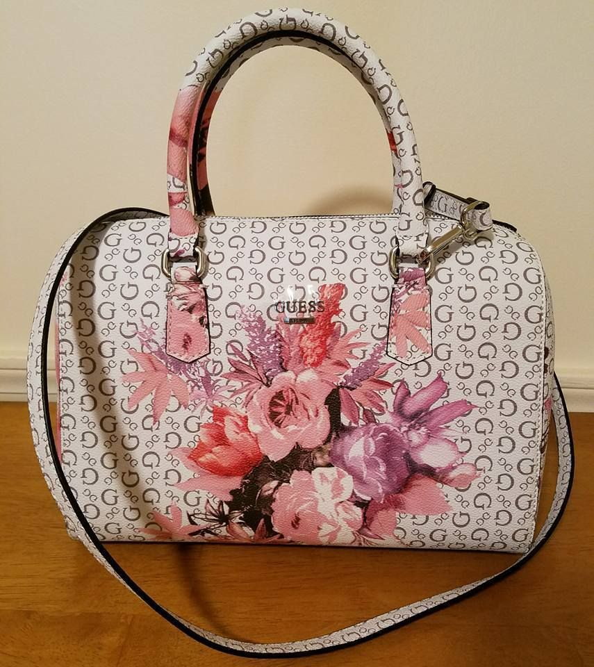 Guess Ashville Bag Floral White Pink Rose Box Satchel Logo Purse