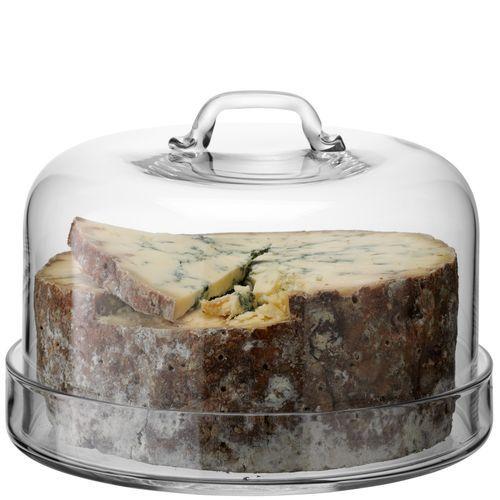 SERVE Glasplatte (ø 22 cm) mit 2 cm Rand und passender Glashaube (ø 24 cm), Gesamthöhe 16,5 cm  Perfekt zum Servieren von leckerem Kuchen und Käse. Durch den hochgezogenen Rand kann nichts verrutschen und wird zusätzlich durch die schön geschwungene Glashaube geschützt.