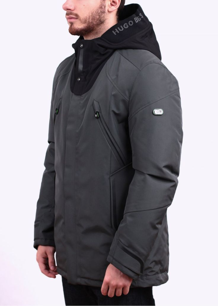 Hugo Boss Jenato Jacket Dark Grey In 2020 Boss Damen Herren Mode Winterjacken