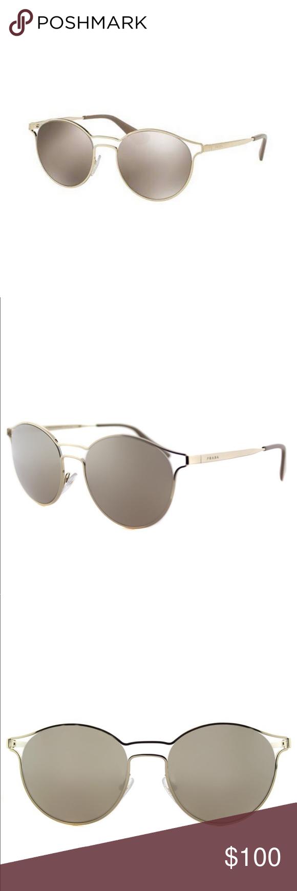 b1e859f4bf5ce Prada Metal Round Gold Mirror Lens Sunglasses Prada Cinema Pale Gold Metal  Round Gold Mirror Lens