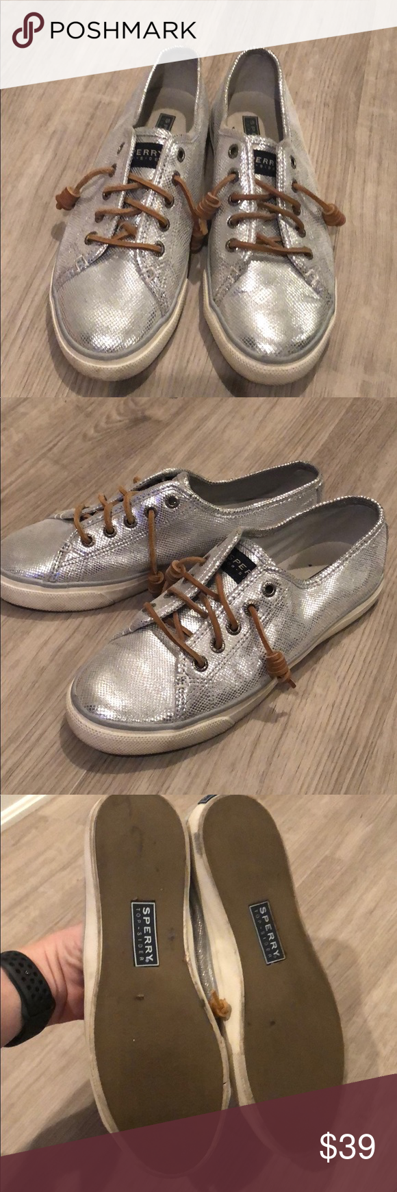 Sperry Top Sider Silver sneakers sz 8