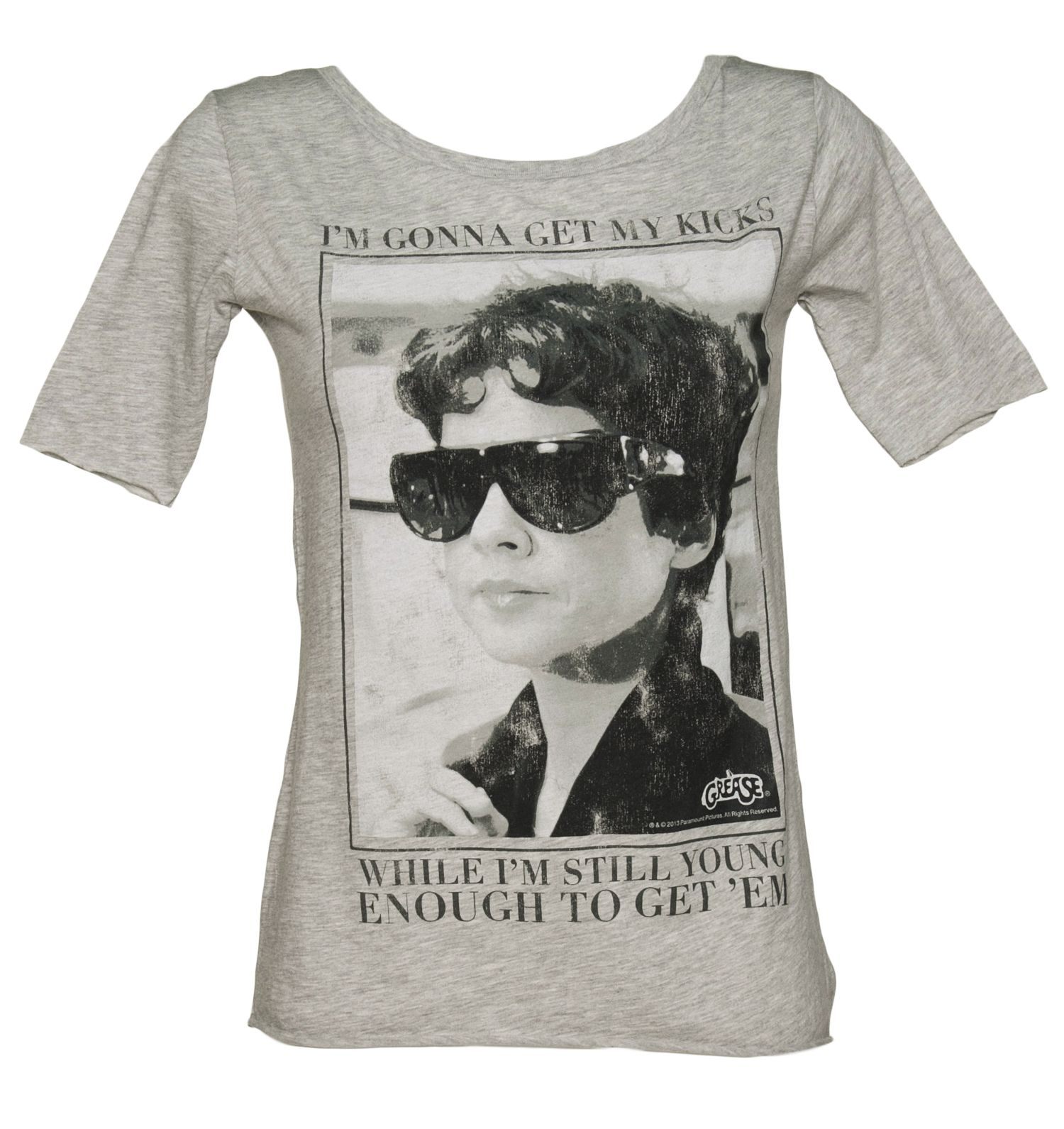 ef98eb1088b44 Ladies Rizzo Get My Kicks While I m Young Grease Scoop Neck T-Shirt ...