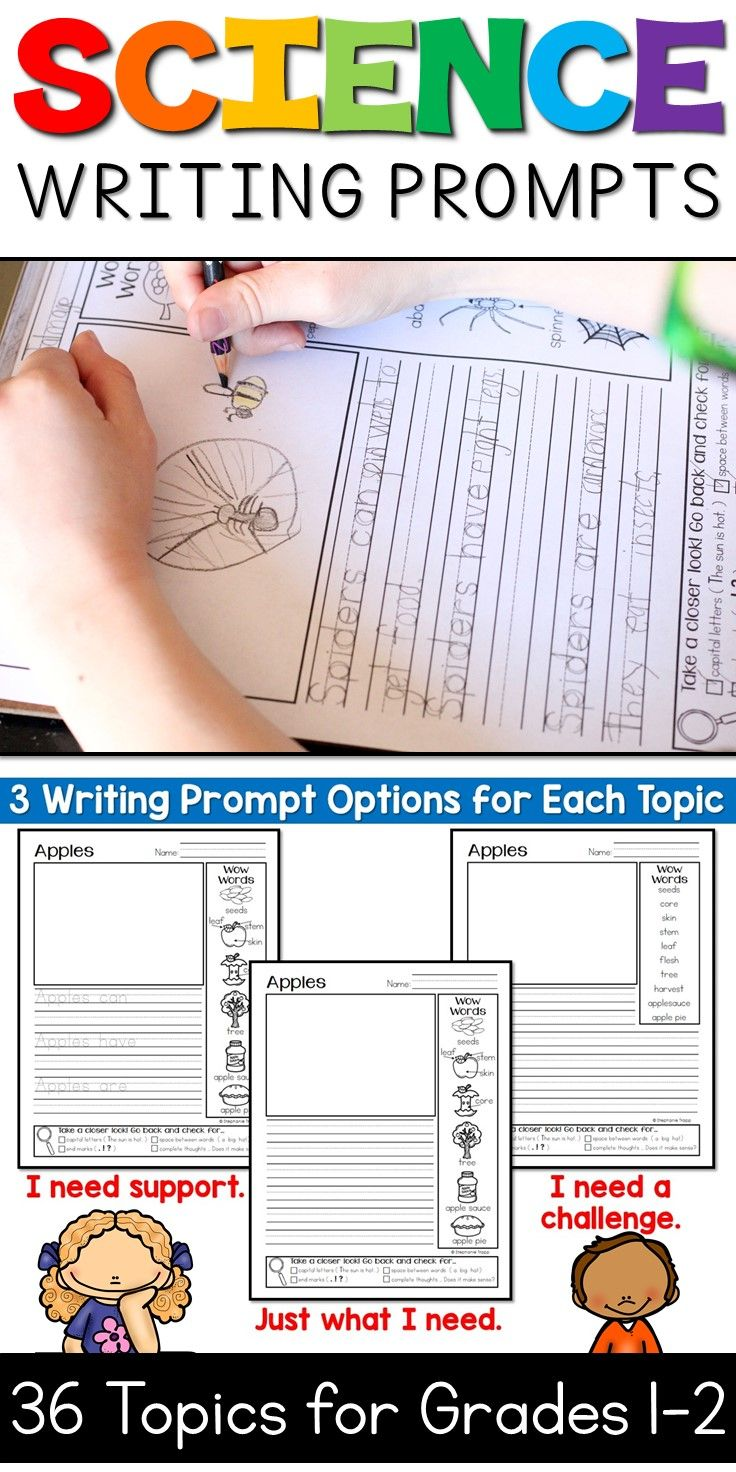science writing prompts for first and second grade  my tpt