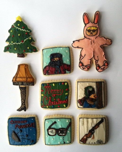 a christmas story bunny pajamas leg lamp sugar cookies with buttercream frosting 40 00 via etsy