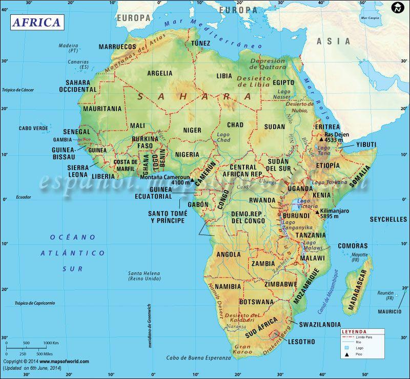 Mapa de Africa  Mapa de Pases  Pinterest  Africa