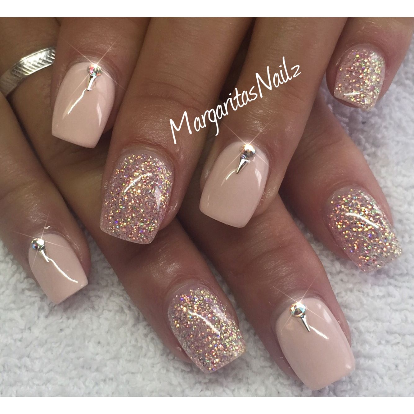 Nude and glitter nails @MargaritasNailz | Nail designs | Pinterest ...