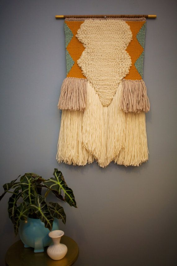 Large Hand Woven Modern Tapestry Wall Hanging Teal Ochre Neutrals