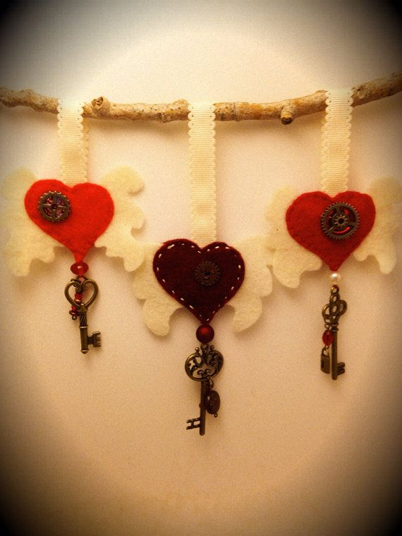 Gear heart felted wall hanging steampunk by RadioActiveWorkshop ...