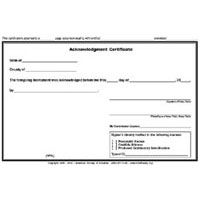 Acknowledgment Certificate Pad | Additional Notary Products ...
