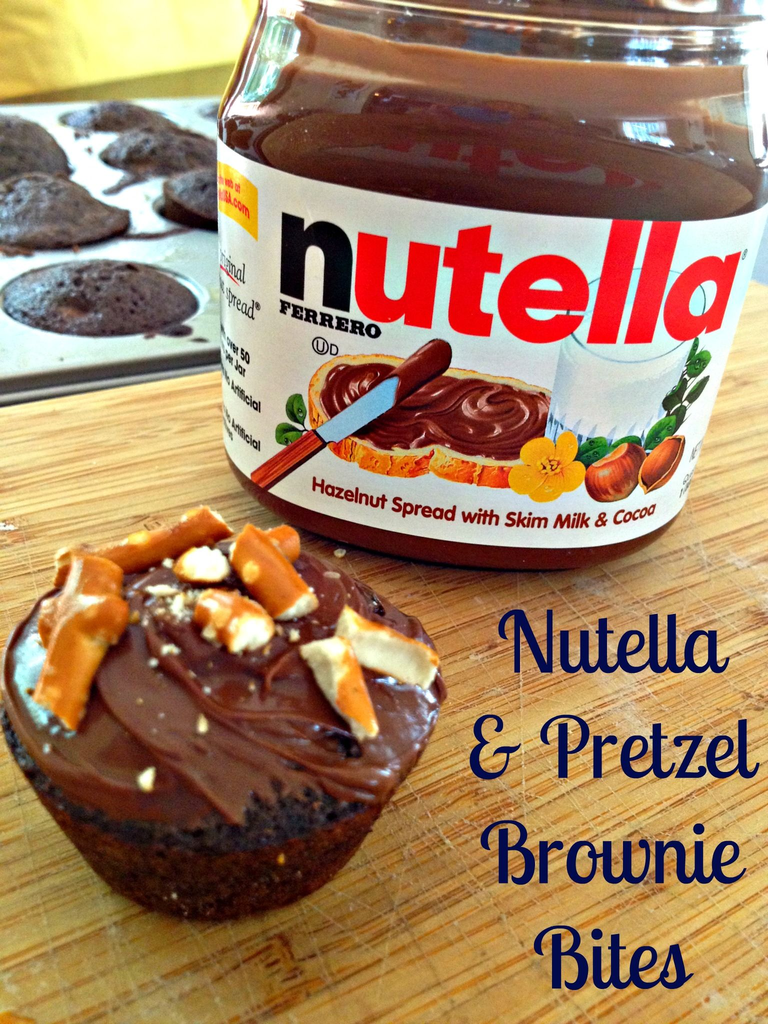 nutella pretzel triple chocolate brownie bites  brownie