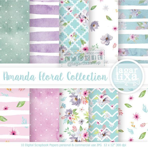 Purple Flowers Digital Papers Patterns Pastel Watercolor Bridal
