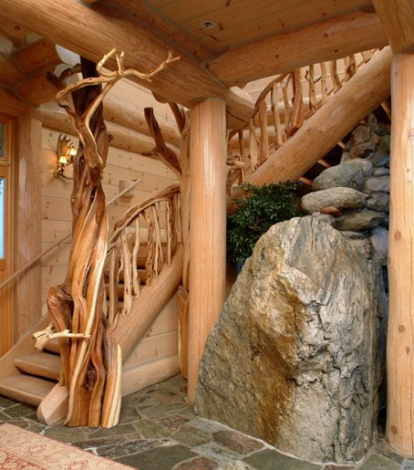 Log Staircase, Unique Wooden Staircases, Exotic Wood ...
