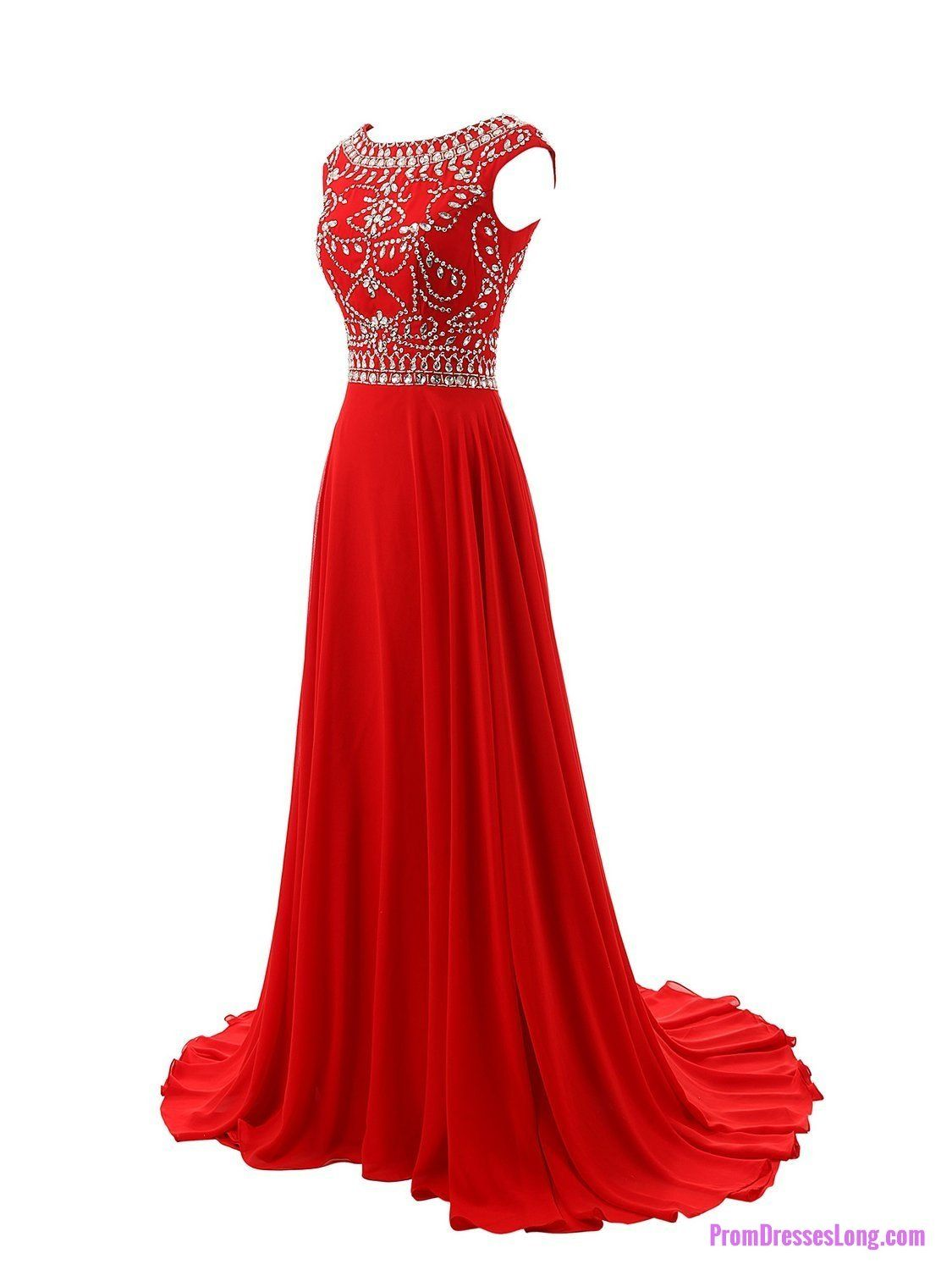 Red prom dresseselegant evening dresseslong formal gownsbeading
