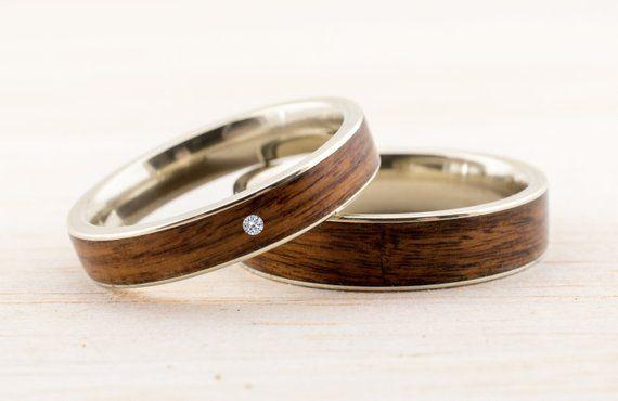 Wedding Band Set Wooden Bentwood Rings Gold Silver Rosegold Matching