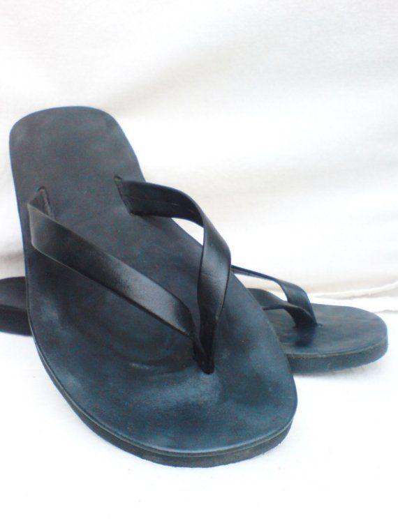 f8dd4d91c Beach Easy Leather Sandals BLACK-Handmade Sandals