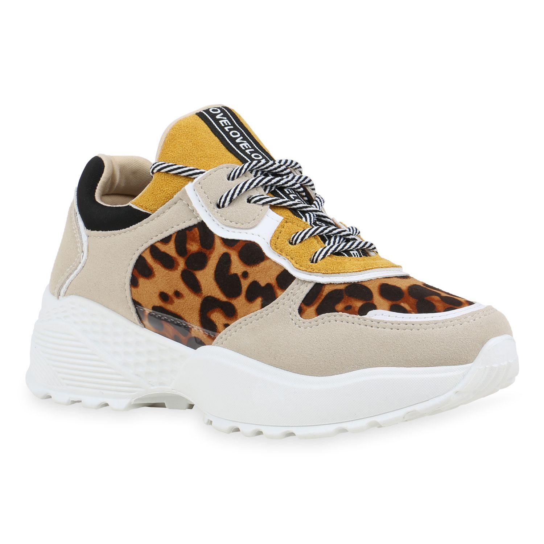 Damen Plateau Sneaker Beige Gelb Hellbraun Leo in 2020