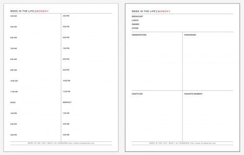 Free printable daily planning pages for Week in the Life from Ali Edward