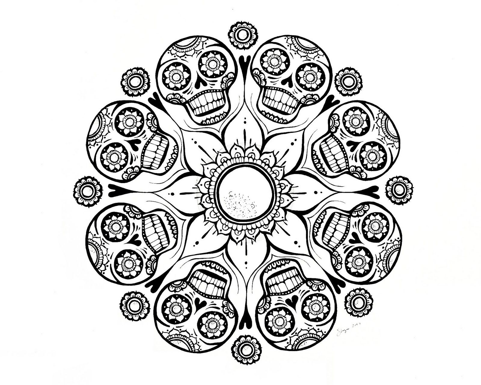 Skull Mandala Coloring Pages am selling PDF downloads in my Etsy