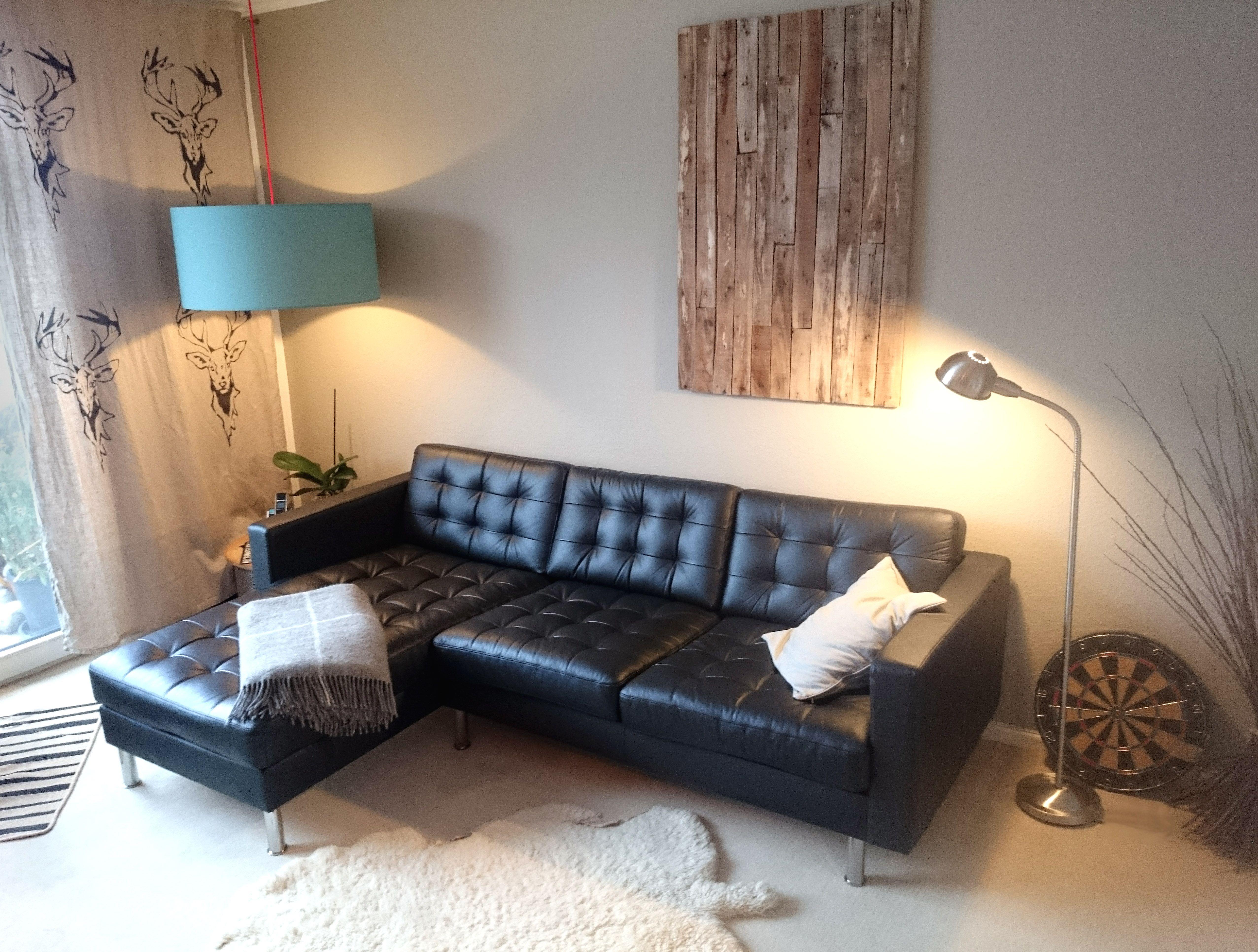 Black Landskrona Sofa Curtains With Deer Sketch