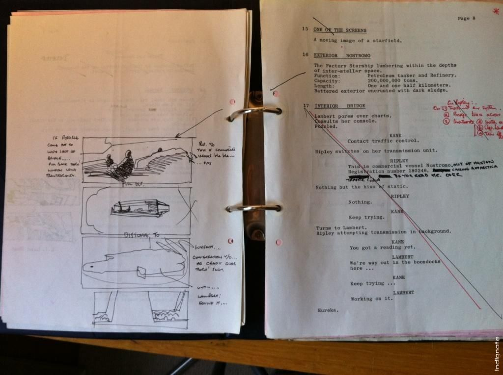 Ridley Scottu0027s Alien script with Ridleygrams Ridleygram - script storyboard