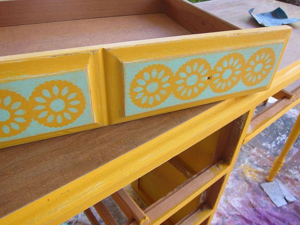 Ugly Old Dresser Transformed into a Boho-Chic Craft Desk!