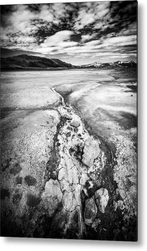 Iceland black and white metal print for sale geothermal area namaskard black and white landscape photo with stark contrast art for your home decor and