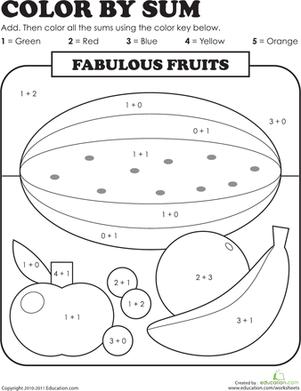 Color by Sum Fabulous Fruits Basic math, 1st grade