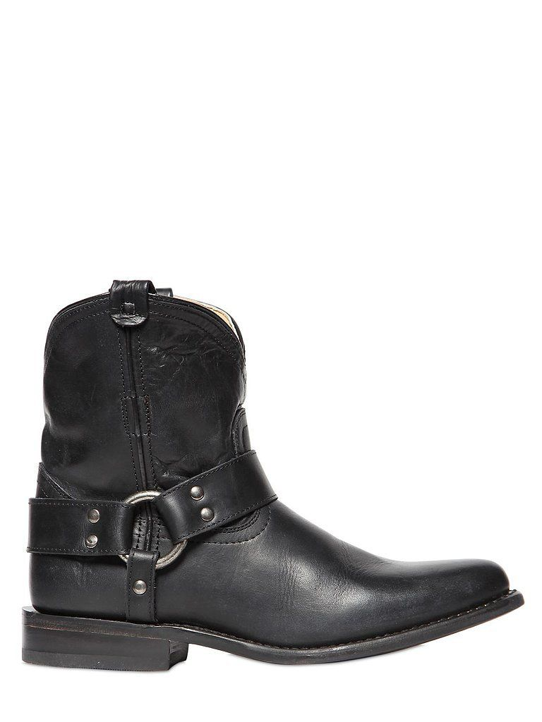 Leather cowboy boots with a bit of extra edge