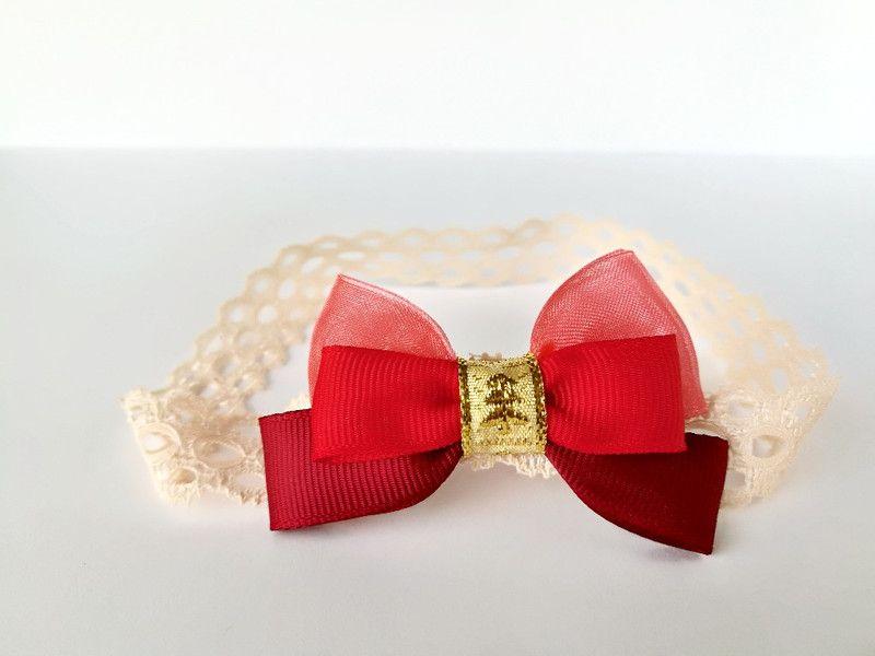 97f8932b23 Subtelna opaska dla Małej Królewny czerwona złota - MadebyKaza - Opaski dla  niemowląt