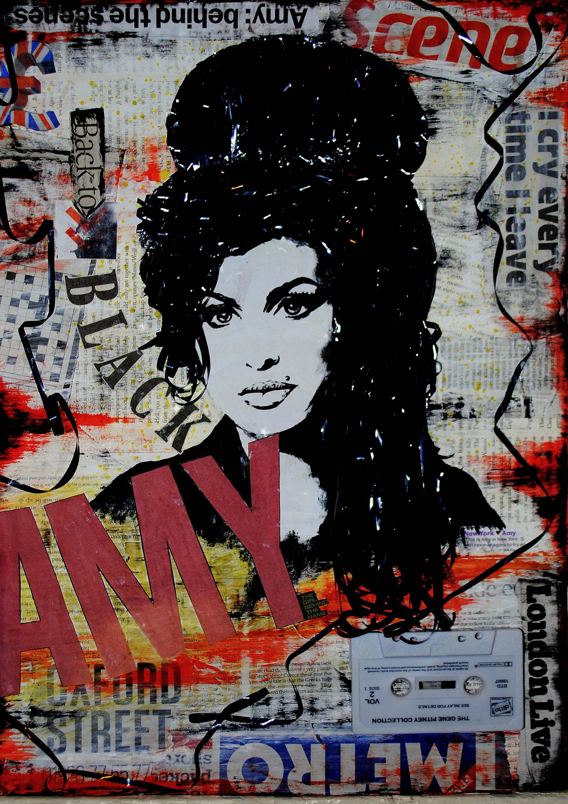 Amy Winehouse Back To Black Mixed Media Painting Collage By