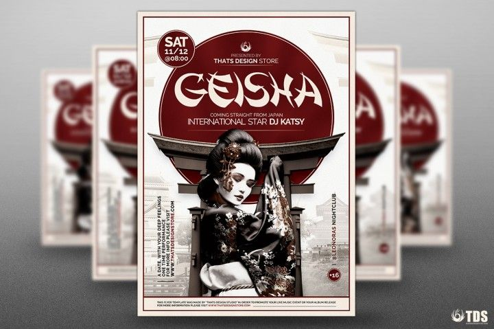 Geisha Night Flyer Template V5   The Hungry JPEG