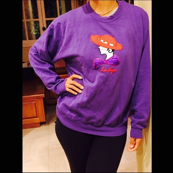 Purple Crewneck Sweatshirt: Red Caps Las Vegas Purple Crewneck Sweatshirt: Red Caps Las Vegas, gently worm, 50% cotton, front chest decal, and is loose fitting. Hanes Sweaters