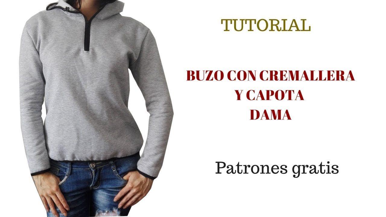DIY Buzo con cremallera y capota de dama | Deportivos | Pinterest ...